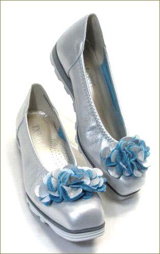 invina インビナ  シルバー色のスクウェアトゥで、お花のモチーフの裏革がブルーのカッターパンプスの両足画像