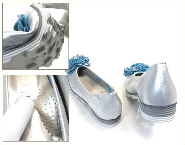 invina インビナ  シルバー色のスクウェアトゥで、お花のモチーフの裏革がブルーのカッターパンプスのパーツ画像