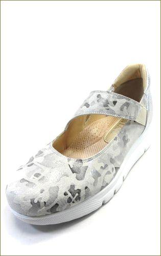 invina インビナ  シルバー色の迷彩柄素材で斜めベルトのパンプスの左靴の画像